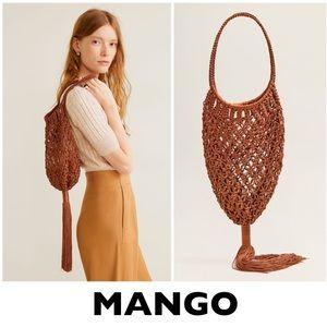MANGO Brown Fringe Crochet Knit Bag